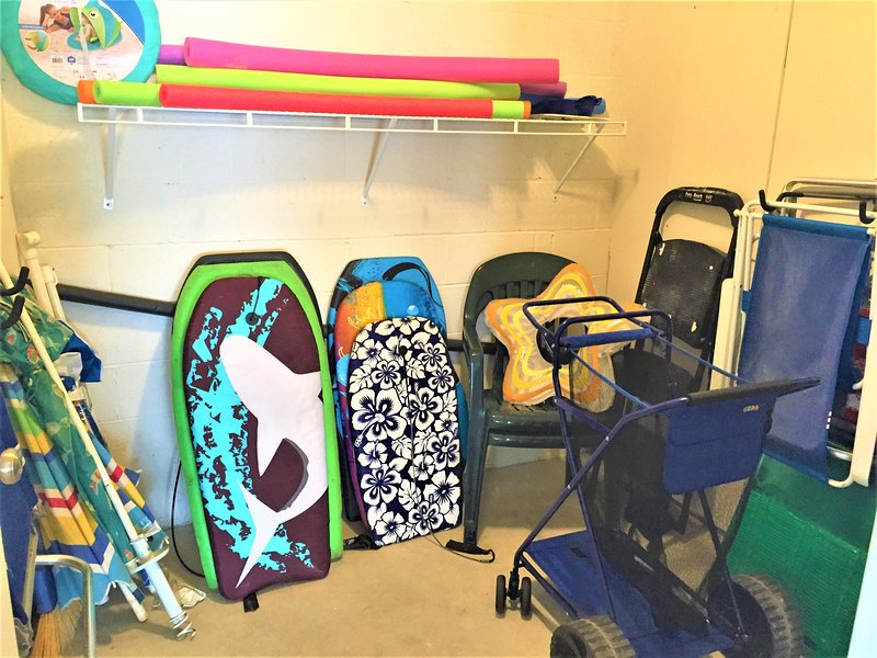 Garage Storage Room with Beach Chairs, Umbrellas and Wonder Wheeler