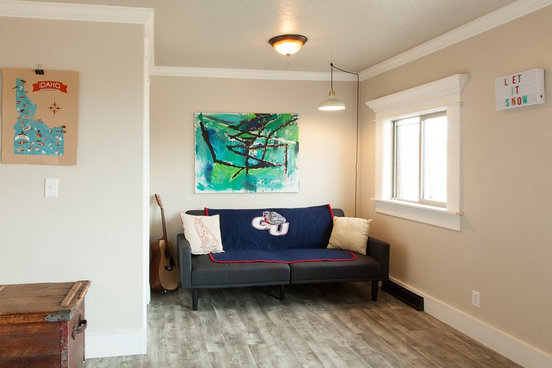 Upstairs living area with fold down futon