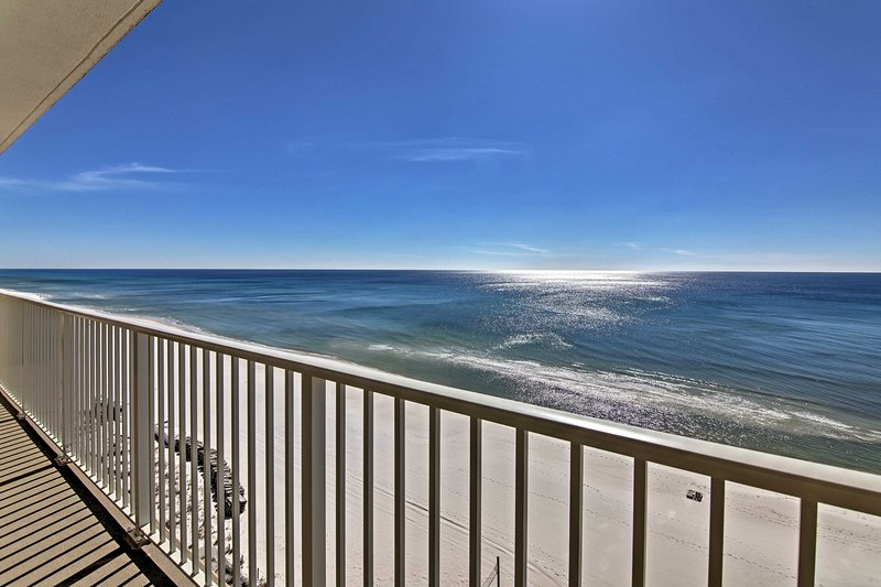 Look forward to sipping your morning coffee on a private balcony while looking out on unobstructed ocean views at this 3-bedroom, 2-bath vacation rental condo in Panama City Beach!