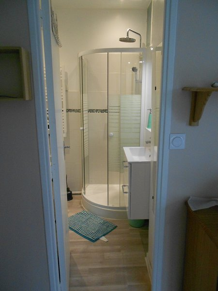 Shower room with sink, washing machine and toilet