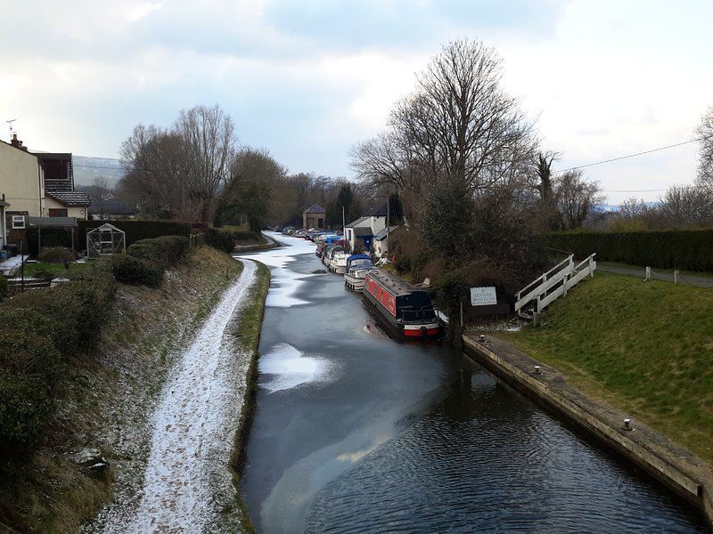 This is the Abergavenny to Brecon canal  frozen over the end of  February 2018