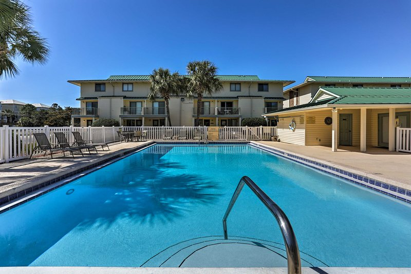 Stay a half block from the shore at this Miramar Beach vacation rental condo.