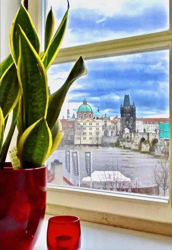 Vista deslumbrante para icônico Charles Ponte do quarto principal.