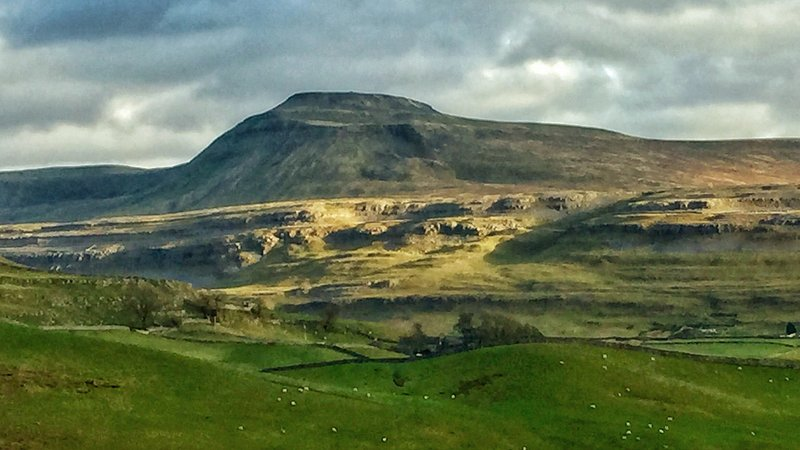 Ingleborough, one of the Three Peaks. You can walk this from the village!