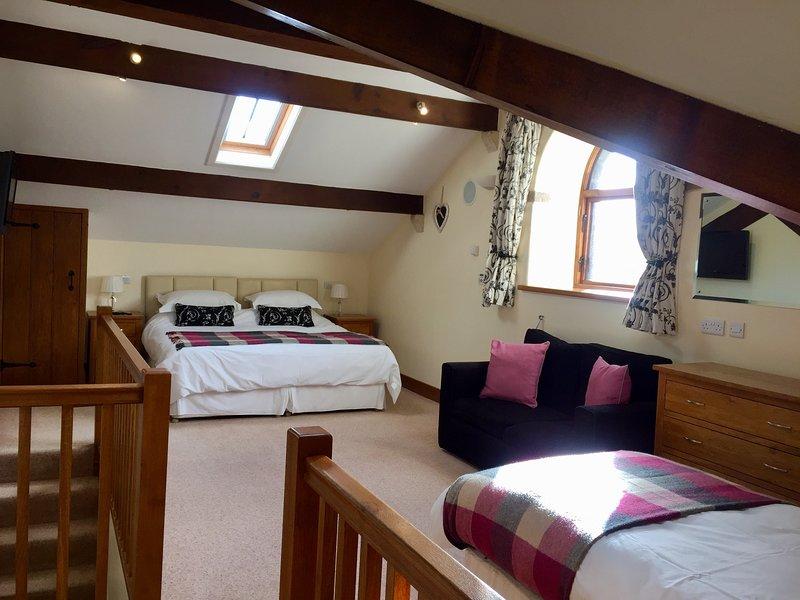 Grande chambre au rez-de gel avec super king (ou lits jumeaux) lit et un lit simple. Canapé-lit simple sur demande