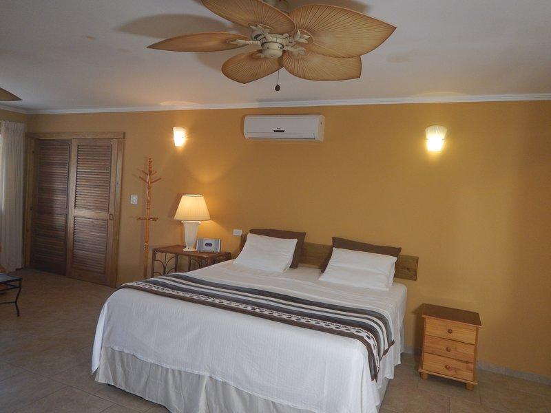 O quarto tem novo conversor A / C e também dois ventiladores de teto