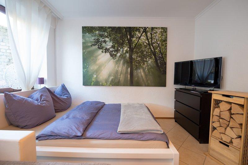 Bequemes Doppelbett im Wohn/Schlafzimmer mit Flachbildfernseher daneben der Holzvorrat.