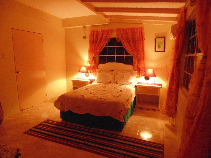habitación con aire acondicionado espaciosa con baño adjunto
