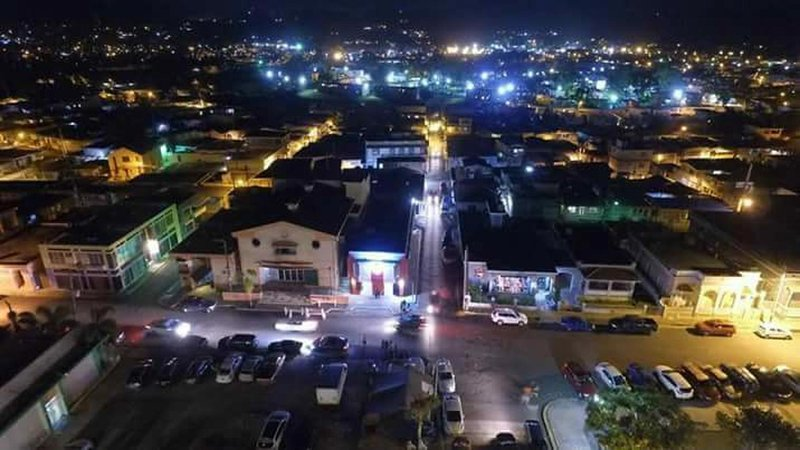 Anasco  down town night view from the City Hall