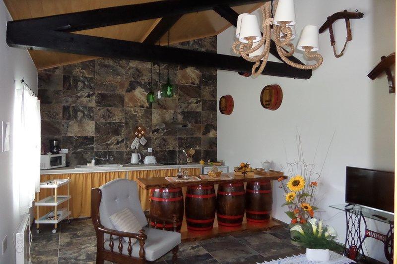 Open space, soggiorno e angolo cottura