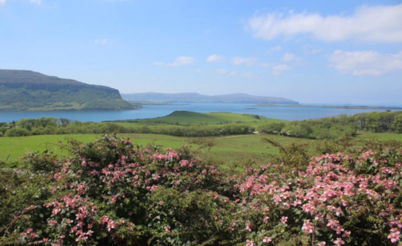views from the front of the property over Waternish farm, lock bay & out to Dunvegan Head & islands