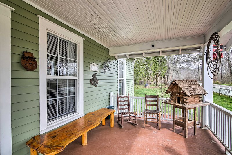 Sip a refreshing beverage on the covered porch.