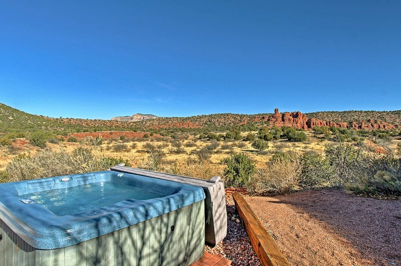 Relish the incredible desert views while you soak in the private hot tub.