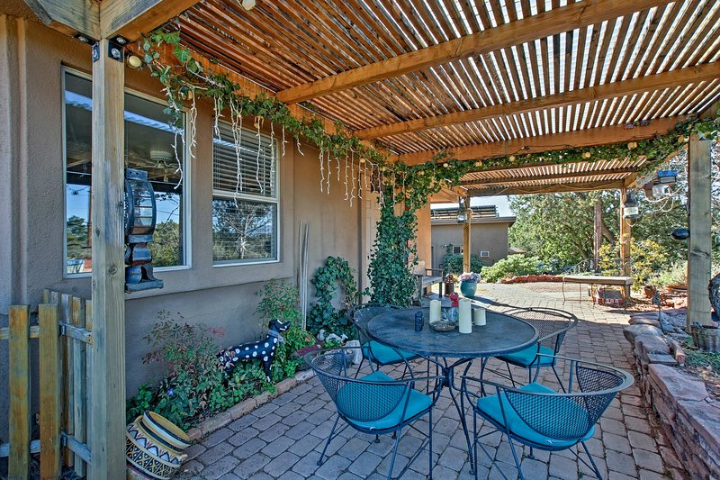 Stay cool under the covered patio.