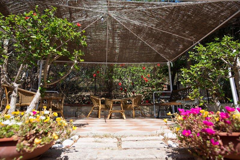 Gazebo with garden lounge