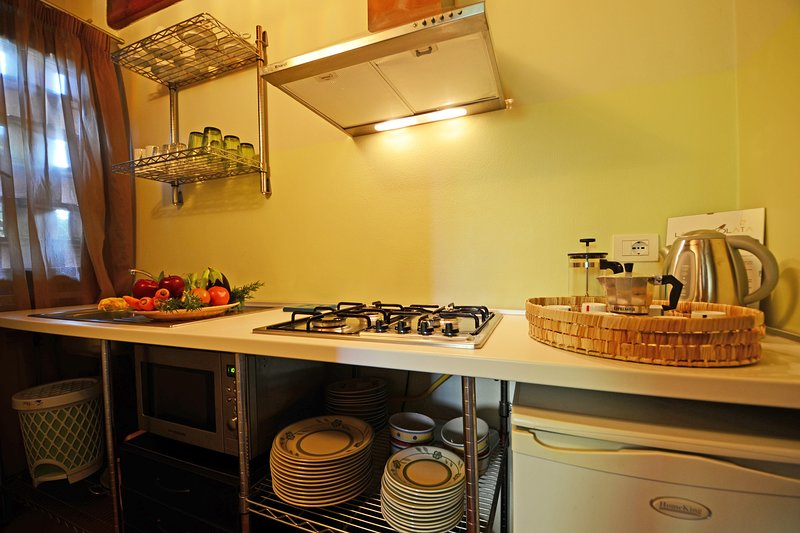 cozinha com geladeira, microondas / forno e placa de fogão
