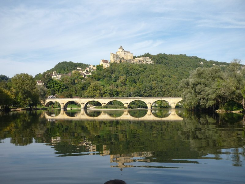 Castelnaud from the river a few hundred yards from the house
