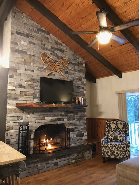Large fireplace in sunny living room that open up patio overlooking the back yard.