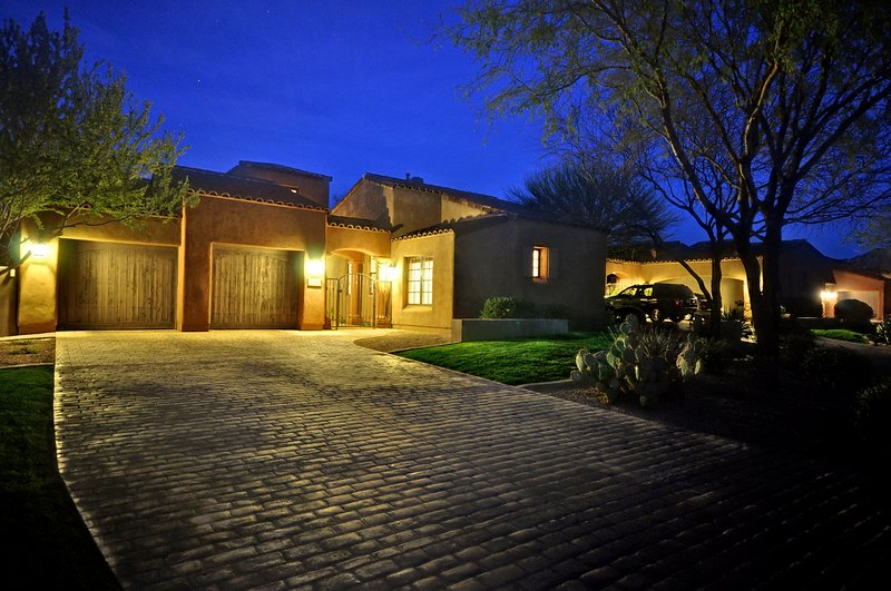 Front of Home with two car garage.
