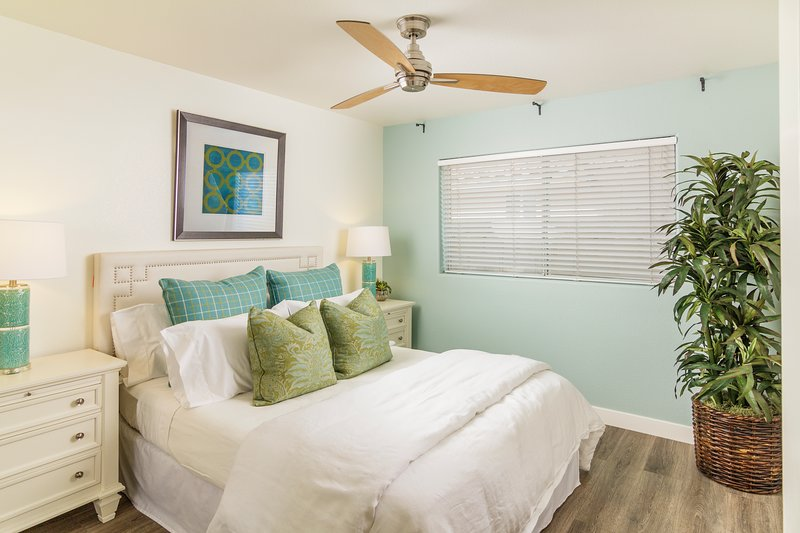 Bdrm 2 | Bright with pillow top queen, fine furnishings, storage, cable TV