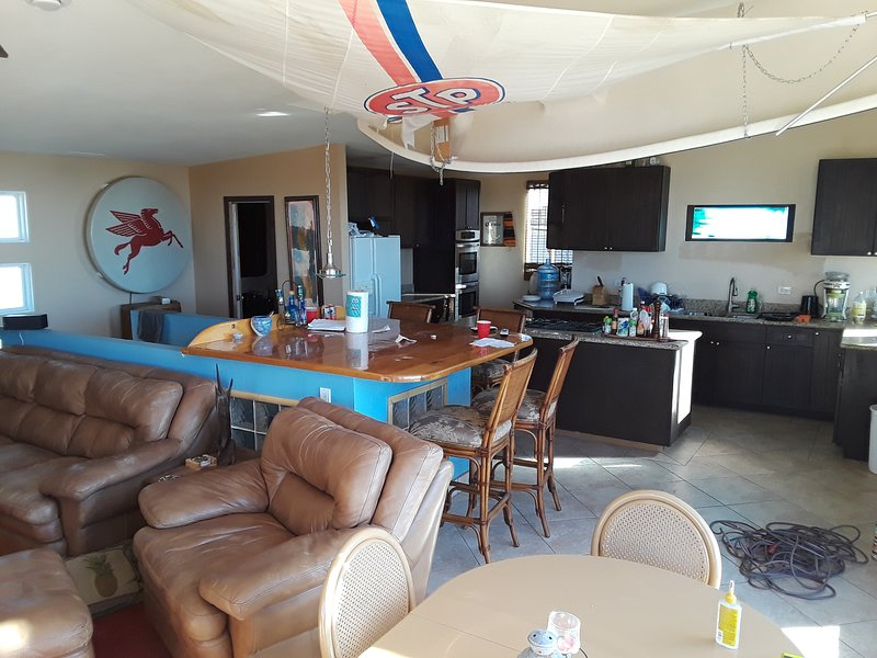 Living room over to Kitchen and Sailboat