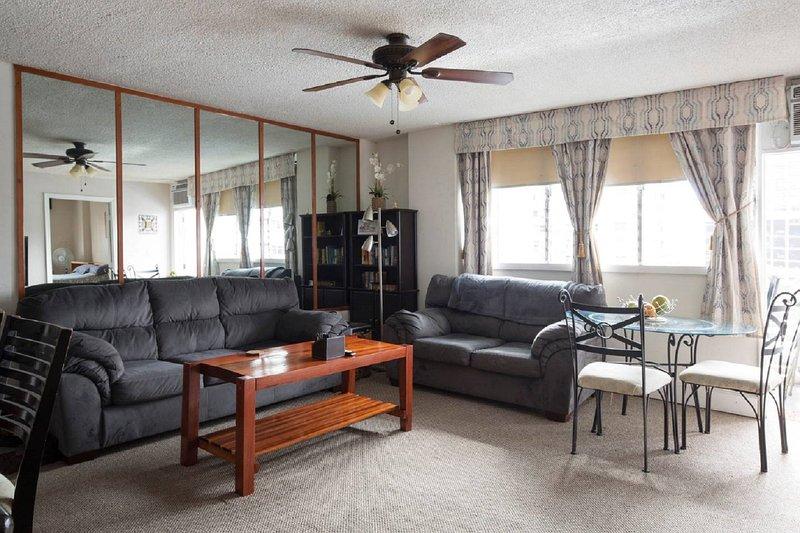 Sala de estar con la reina tamaño sofá-cama