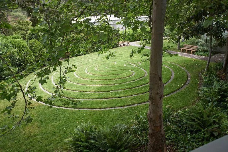 Grass labyrinth view from sleeping room