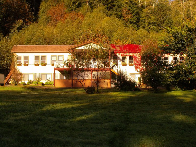 Mt Hkusam View Lodge for groups - common areas, kitchens, pool table, bigscreen, holiday rental in Sayward