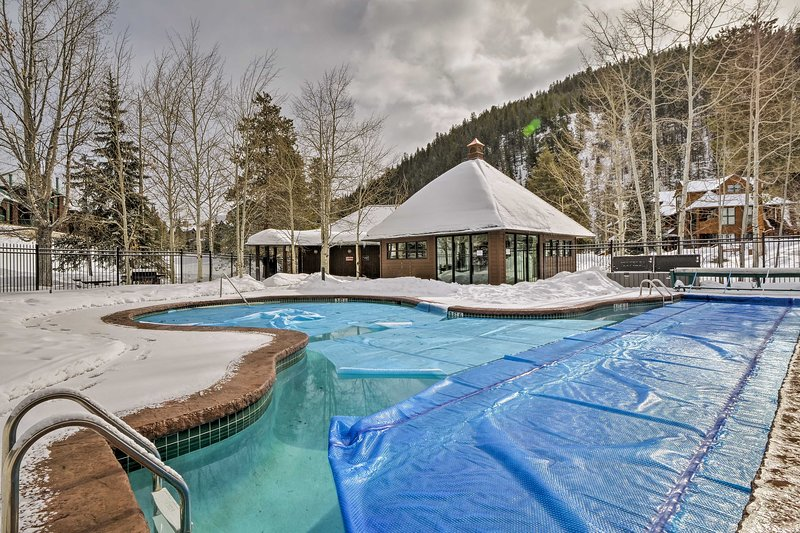 Take a dip in the pool no matter the season as it's heated in the winter.