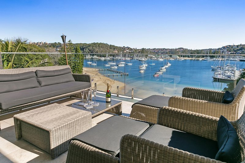 Outdoor area with harbour views