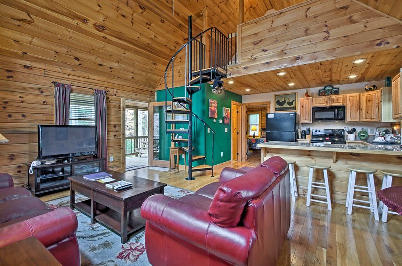 A scenic mountain retreat awaits at this Bryson City vacation rental cabin!