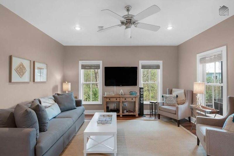 You'll find plenty of seating for your whole group in the spacious living area.