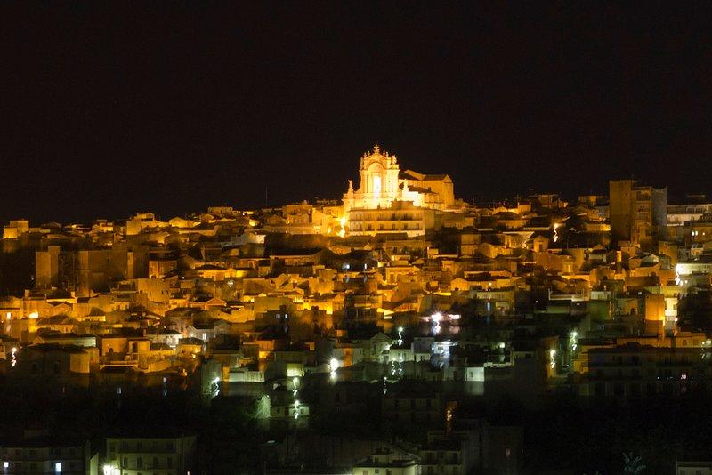 Night view of the ancient Borgo di Modica Alta where are The Case of Avi