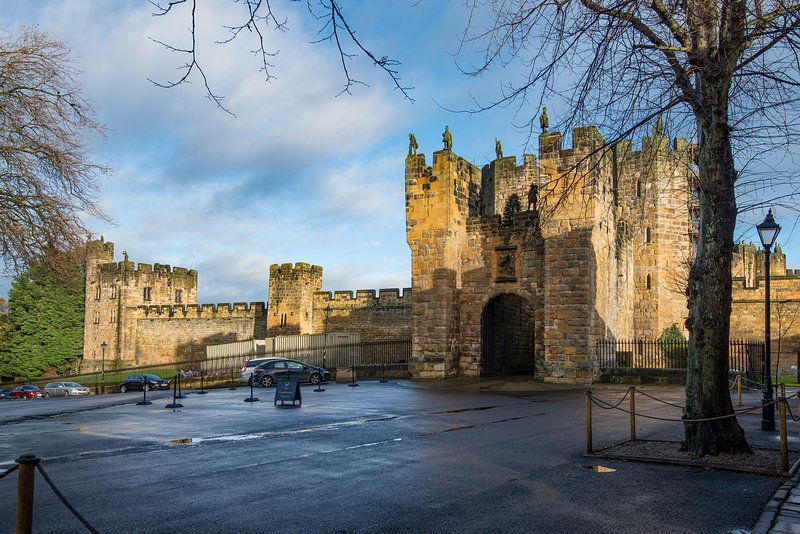 Main entrance to Alnwick Castle, directly opposite the property