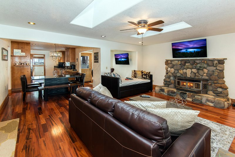 Moonlight Chalet - living room stone fireplace