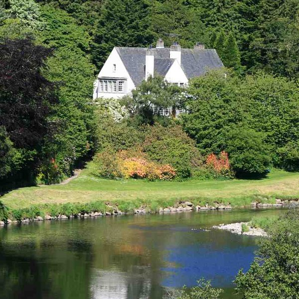 The house sits above the river Deveron