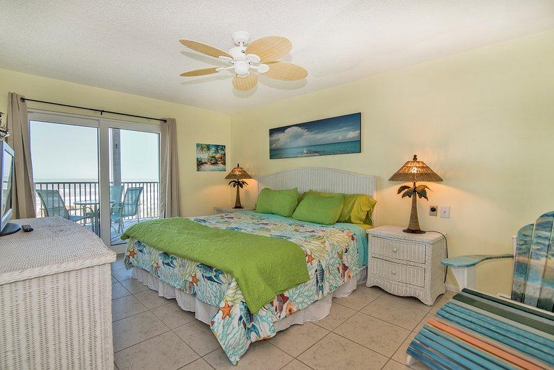 Mestre quarto com vista para o banho e praia