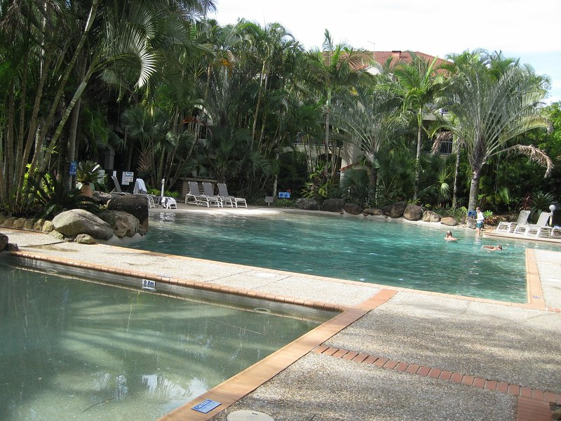 Children's wading pool, foreground, with lagoon pool at rear