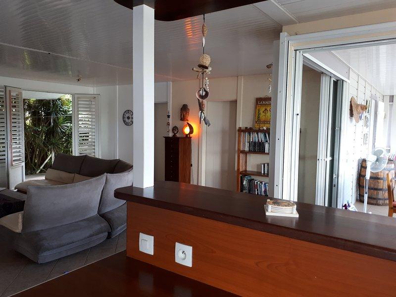 vista de la sala de estar y terraza
