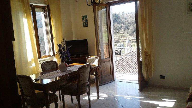 Sala da pranzo con affaccio sul terrazzo ,dal quale si gode di una magnifica vista
