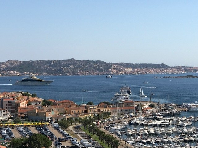 View from the terrace 180 degrees on seven islands of the archipelago, land, sea, port and Corsica on the left