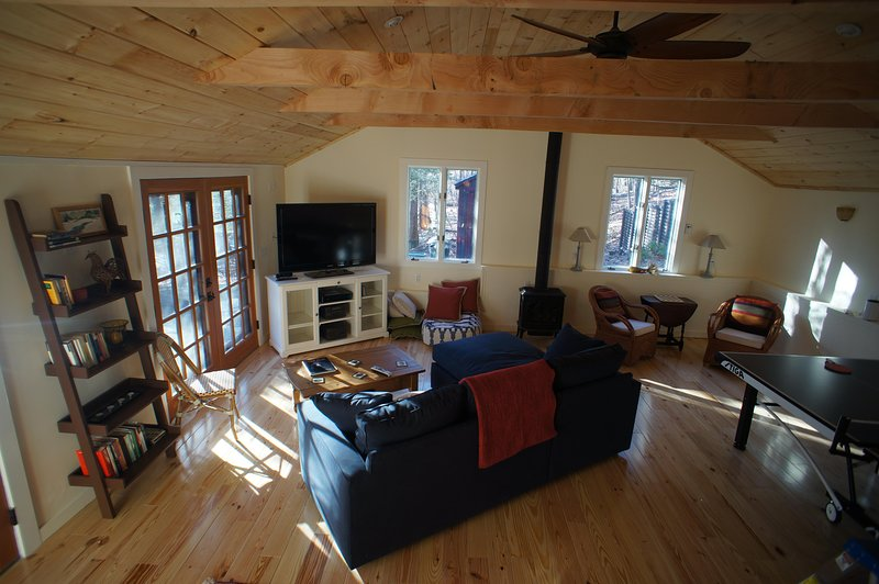 Great Room with Ping Pong, Big Screen TV, and Gas Wood Stove
