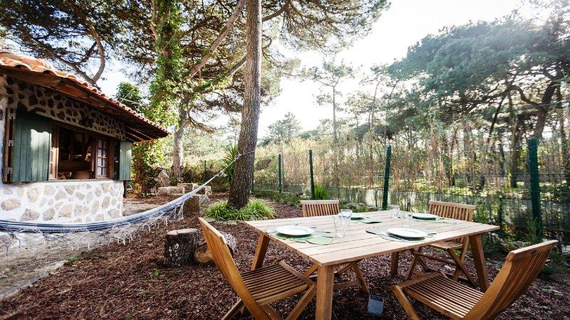 zone de jardin et une table extérieure