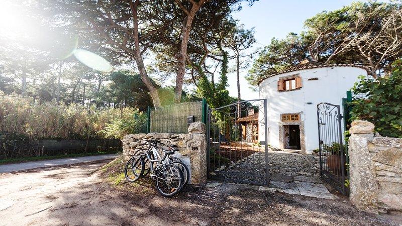 zona de jardín y bicicletas