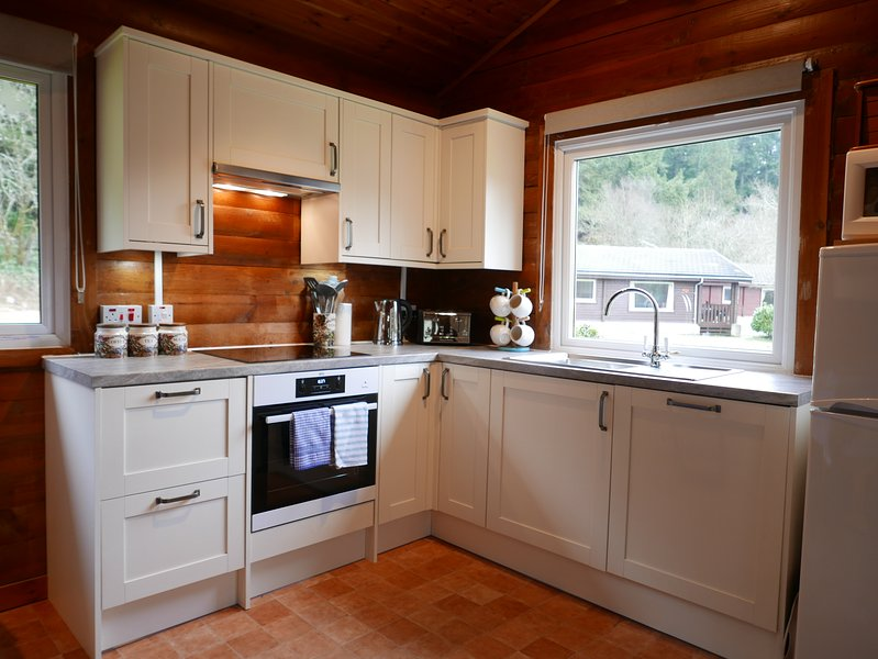New (2018) kitchen with induction hob, steam oven, dishwasher and quality pots, pans and utensils.