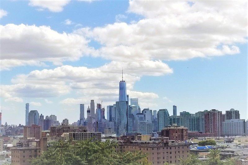 Disfrutar de las vistas panorámicas de la ciudad de Nueva York y Jersey City horizonte de parque cercano