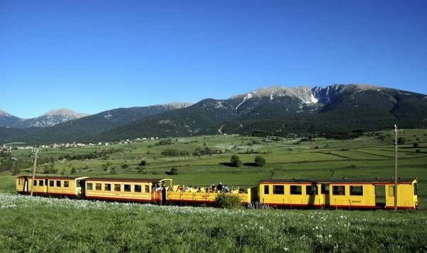 The little yellow train to admire the mountainous landscapes
