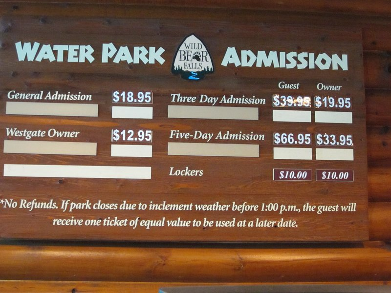 Regular water park fees - yours are FREE