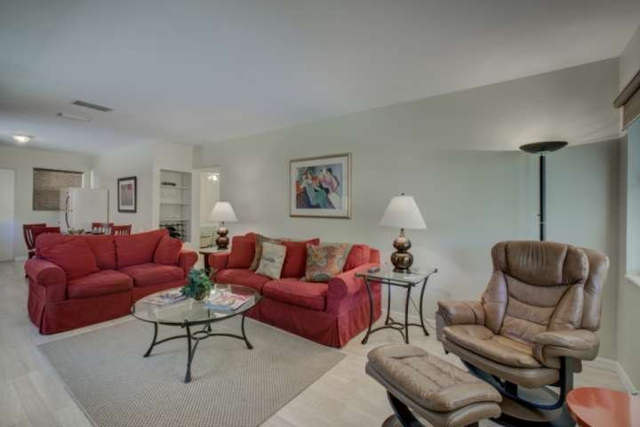 Relax after a day exploring downtown Sarasota in the comfy living room.  Easy access to the screened lanai.
