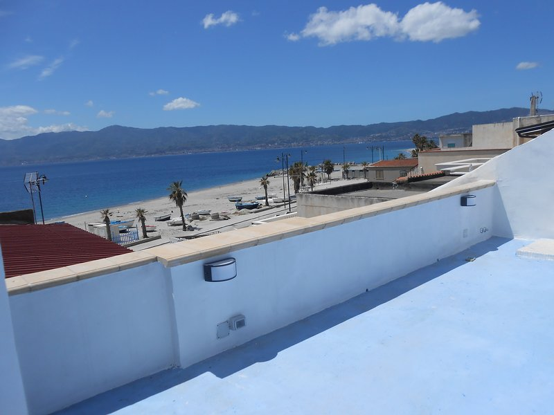 view of the Strait of Messina from the terrace